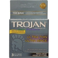 TROJAN CONDOMS ULTRA THIN Lubricated 3'S LOWEST $2.49
