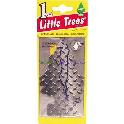 Little Trees Pure Steel 24ct - Car Air Freshener - LOWEST $0.59 -