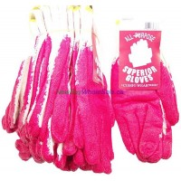 Work Gloves Coated RedKnitted Cotton Rubber 10pk.