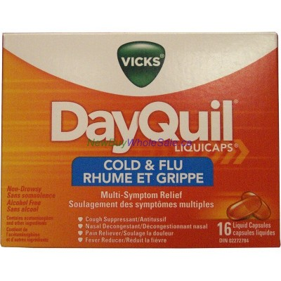 VICKS DAYQUIL COLD & FLU CAPS 16'S LOWEST $7.29