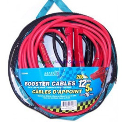 Booster Cable 12ft. 5m. 10 Gauge, 200Amps- LOWEST $11.35 -. Fits Top and Side post Batteries.