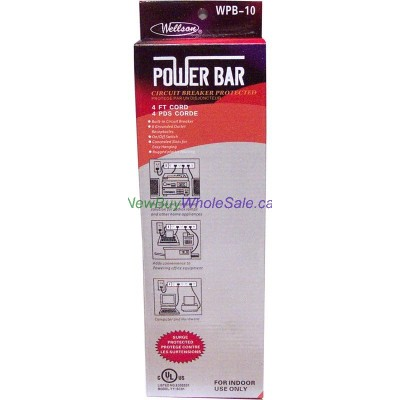Power Bar 6 Outlet 4ft Cord - LOWEST $4.89 - with Surge Protection.