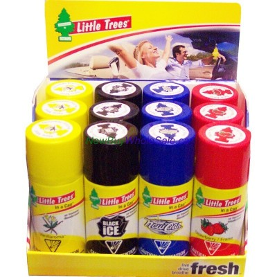 Little Trees can 70g. 12pk. Asst. New Car, Strawberry, Black Ice, Vanillaroma. LOWEST $1.67