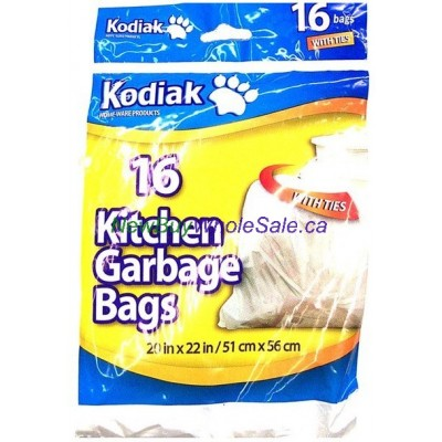 Kitchen Garbage Bags 20inx22in 16pk. LOWEST $0.75