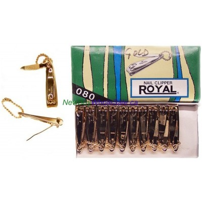 Royal Gold Nail Clipper- LOWEST $0.70 pc. - Small (Finger) with Chain - Korea 24pcs/box