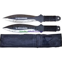"Throwing Knife 9 "" 2 pc with nylon case No. 501 Black"