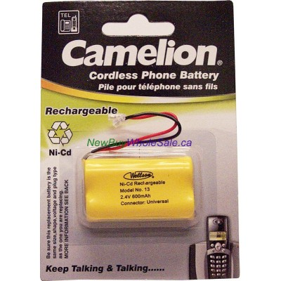 Cordless Phone Batteries NI-Cd Rechargeable No. 13 2.4V 600mAh. Size AA2 Universal Connector