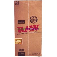 Classic RAW Rolling Paper Single Wide 25pk x 100 Leaves