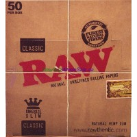 Classic RAW Rolling Paper King Size Slim 50pk x 32 Leaves