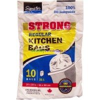 "Kitchen Garbage Bags 20"" x 22"" 10pk LOWEST $0.68 Biodegradeable & Strong"