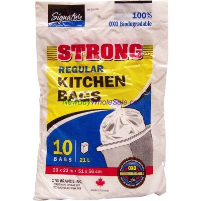 """STRONG 10pk Regular Kitchen Garbage Bags 20"""" x 22"""" LOWEST $0.68 Biodegradeable"""