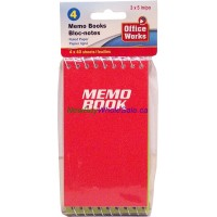"""Coil Memo Books 3""""x3"""" 4 x 80 pages 4pack LOWEST $0.88"""