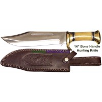 "14"" Bone Handle Hunting Knife w leather sheath"