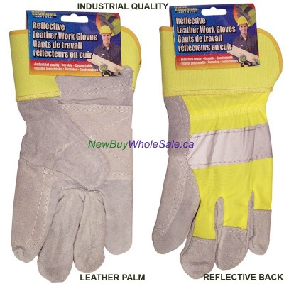 Reflective Leather Work gloves LOWEST $3.99 Industrial Quality