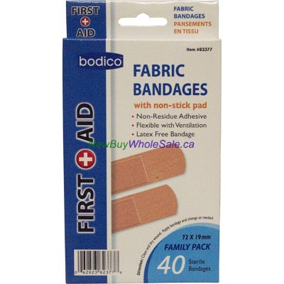 Fabric Bandages w nonstick pad 40pk Sterile LOWEST $0.92