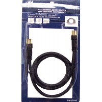 TV Push on Cable Black- LOWEST $0.79 - with Gold Ends 3ft.