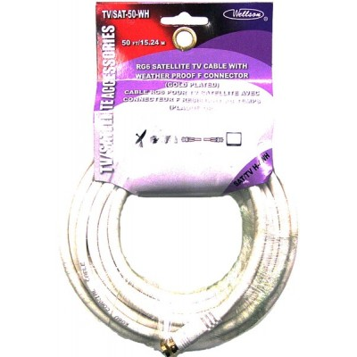 TV/Satellite Cable RG6 White 50ft.