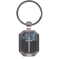 Keychain Metal Cross - Jesus design - LOWEST $0.83 per pc