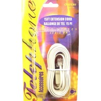 Telephone Extension Cord White 15ft - LOWEST $0.75