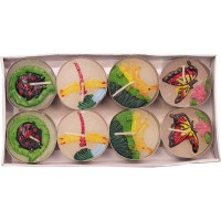 Tea Light Candles Hand Decorated 8pk