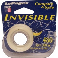 "LePage's 3/4"" Invisible tape with dispenser. Lowest $0.65 Made in USA"