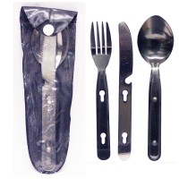 S/S Heavy Duty Cutlery Set For Camping 3pc in pouch LOWEST $2.29