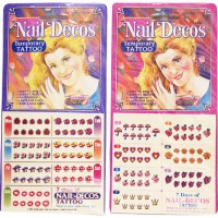 Nail Decos (Nail Tattoo) 96 cards Display. 10 nail decos x 7 days